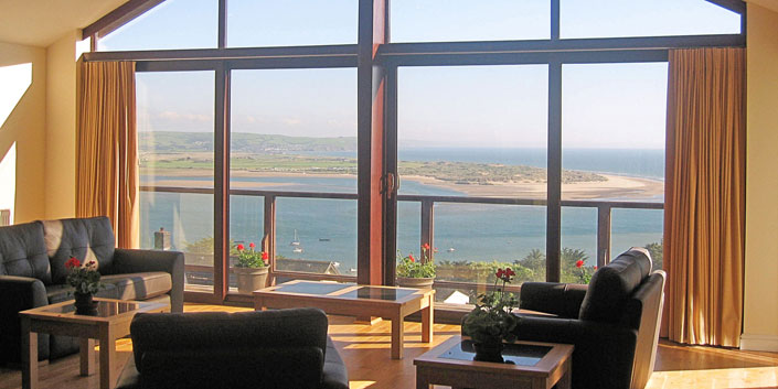 View from Highpoint Lounge Area with Dovey Estuary in foreground and Cardigan Bay beyond